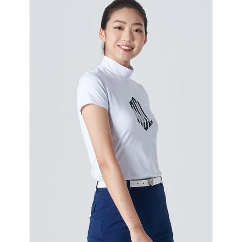 [빈폴골프] [NDL라인] 여성 화이트 빅로고 하이넥 티셔츠 (BJ0442L551)