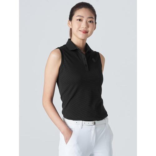 [빈폴골프] [NDL라인] 여성 블랙 솔리드 슬리브리스 티셔츠 (BJ0442L545)
