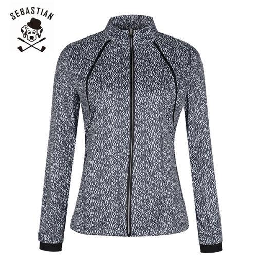 [세바스찬골프] 레터링 패턴 라인 포인트 여성 풀집업 점퍼/골프웨어_250176