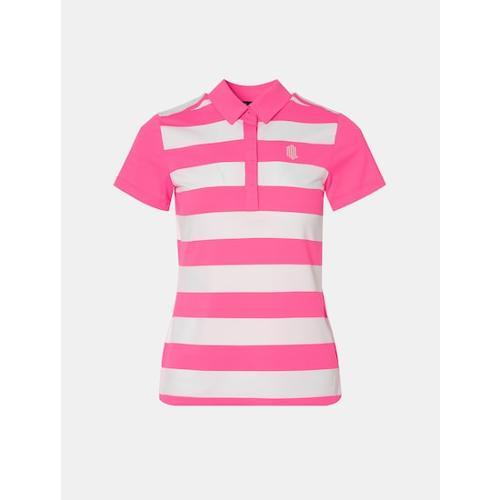 [빈폴골프] [NDL라인] 여성 핑크 스트라이프 쿨링 티셔츠 (BJ0442L53X)