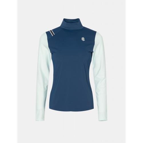 [빈폴골프] [NDL라인] 여성 블루 배색 메쉬 하이넥 티셔츠 (BJ0441L47P)