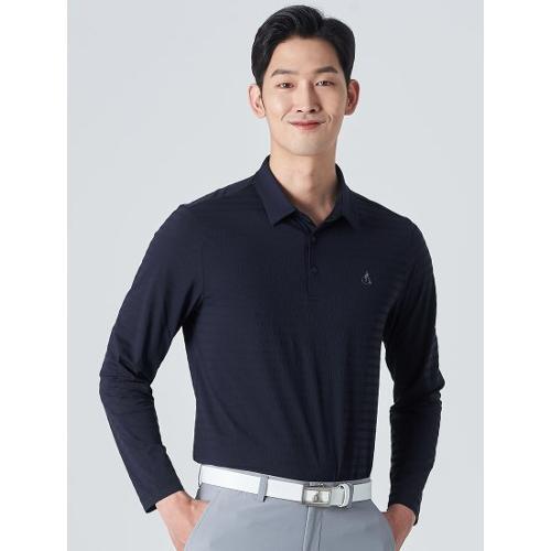 [빈폴골프] 남성 네이비 시어서커 텍스처 칼라 티셔츠 (BJ0341B14R)