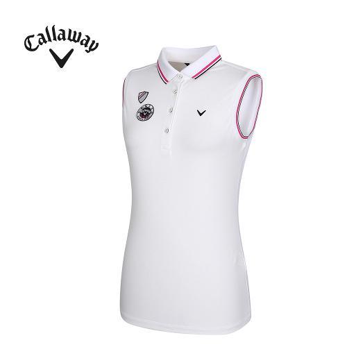 [캘러웨이]여성 패치 장식 카라 민소매 티셔츠 CWTPG6131-100_G