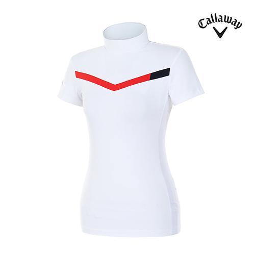 [캘러웨이]여성 메쉬 쉐브론 하이넥 티셔츠 CWTHH6193-100_G