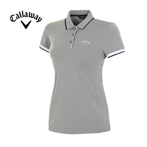 [캘러웨이]여성 배색 라인 반팔 카라 티셔츠 CWTPH6101-193_G