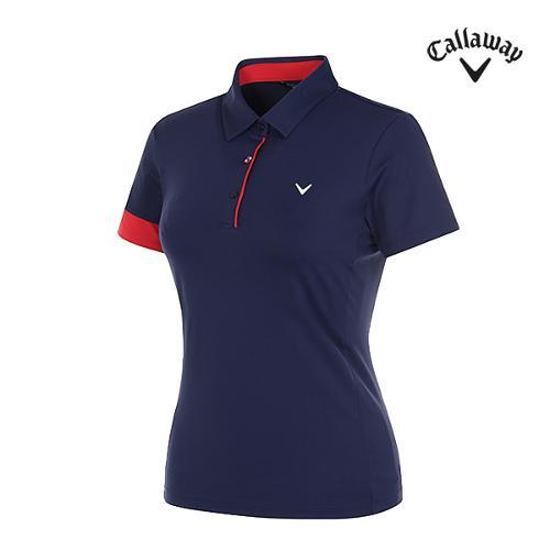 [캘러웨이]여성 컬러 포인트 냉감 반팔 티셔츠 CWTYG6111-915_G