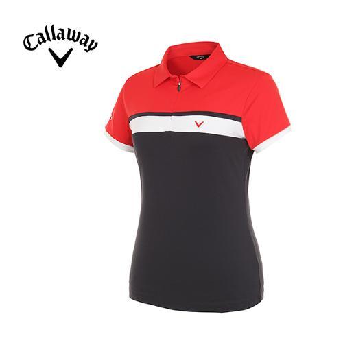 [캘러웨이]여성 컬러블럭 스트라이프 티셔츠 CWTYG6153-199_G