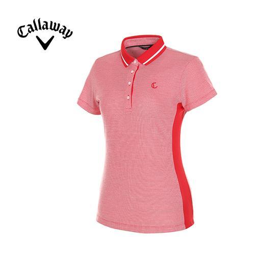 [캘러웨이]여성 슬림 배색 카라 티셔츠 CWTPG6171-500_G