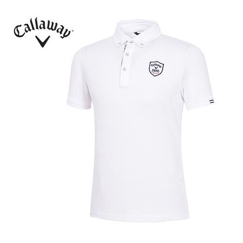 [캘러웨이]남성 베이직 와펜 카라 반팔 티셔츠 CMTYG2101-100_G