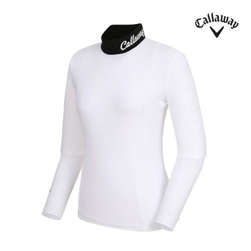 [캘러웨이]여성 넥배색 로고 하이넥 티셔츠 CWTHI5244-100_G
