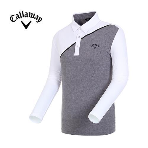 [캘러웨이]19SS 남성 메쉬 배색 긴팔 카라 티셔츠 CMTYI1246-193_G