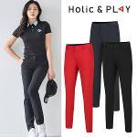 홀릭앤플레이 여성 뒷밴딩 슬림 골프바지 (HA2WPT004)