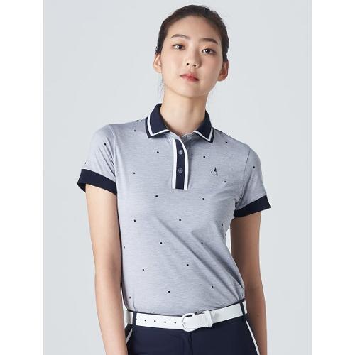 [빈폴골프] 여성 라이트 그레이 스퀘어 올오버 칼라 티셔츠 (BJ0442A292)