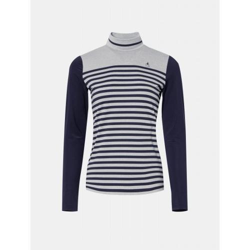 [빈폴골프] 여성 라이트 그레이 스트라이프 올인원 티셔츠 (BJ0441A162)