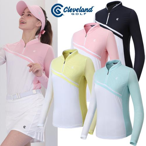 [클리브랜드골프] 크레오라 사선절개 배색 여성 썬가드형 긴팔티셔츠/골프웨어_CGKWTS071