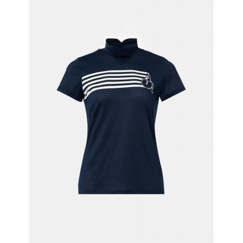 [빈폴골프] 여성 네이비 스트라이프 빅로고 하이넥 티셔츠 (BJ0442A23R)