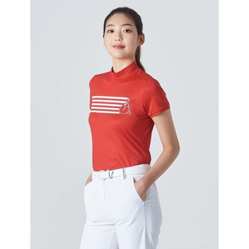 [빈폴골프] 여성 레드 스트라이프 빅로고 하이넥 티셔츠 (BJ0442A236)