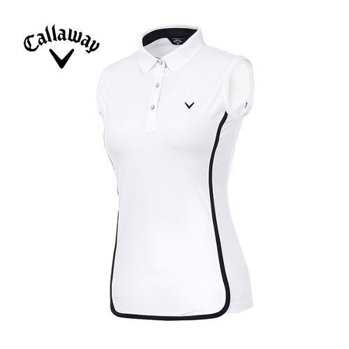 [캘러웨이]19SS 여성 배색 트리밍 카라 티셔츠 CWTYI6351-100_G