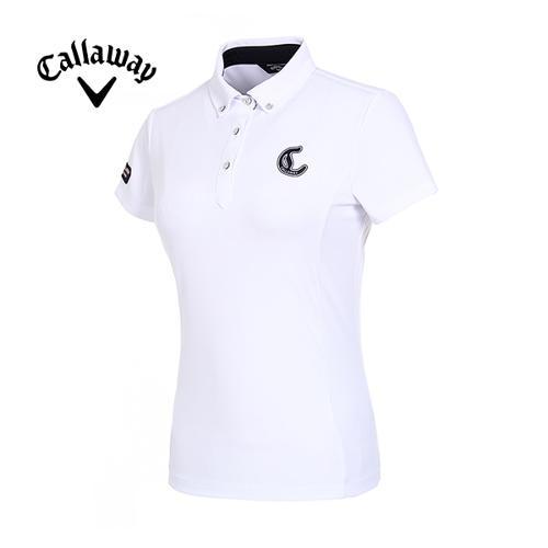 [캘러웨이]19SS 여성 로고 솔리드 와플 티셔츠 CWTYI6353-100_G