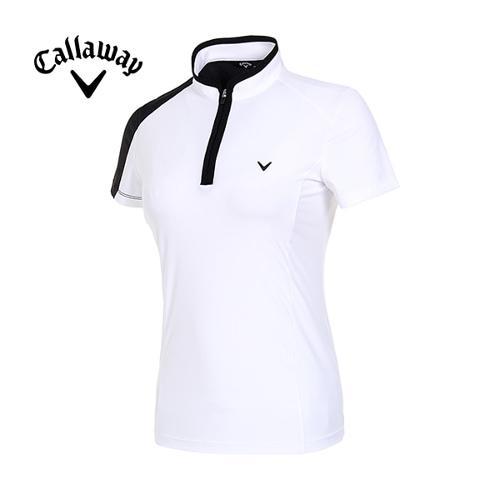 [캘러웨이]19SS 여성 메쉬 배색 반집업 티셔츠 CWTHI6144-100_G