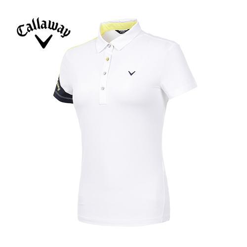 [캘러웨이]19SS 여성 로고 소매 반팔 티셔츠 CWTYI6254-100_G