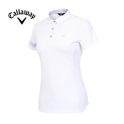 [캘러웨이]19SS 여성 배색 반팔 소매 티셔츠 CWTYI6243-100_G