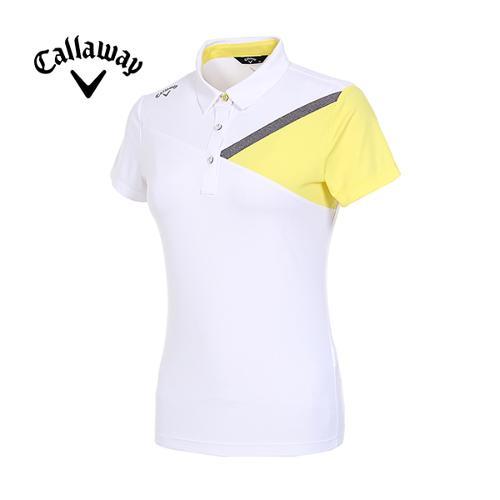 [캘러웨이]19SS 여성 컬러 블러킹 반팔 티셔츠 CWTYI6348-100_G