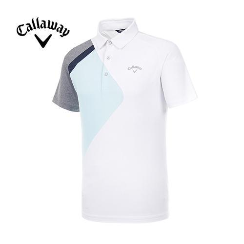 [캘러웨이]19SS 남성 컬러블록 반팔 티셔츠 CMTYI2374-100_G