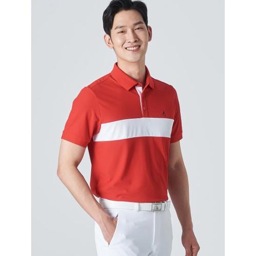 [빈폴골프] 남성 레드 배색 라인 칼라 티셔츠 (BJ0442B266)