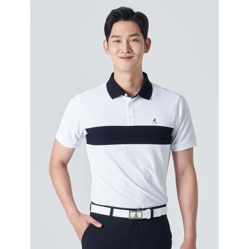 [빈폴골프] 남성 화이트 배색 라인 칼라 티셔츠 (BJ0442B261)