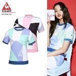 [르꼬끄골프] [20SS 신상]여성 올오버 패턴 라운드 반팔 티셔츠 (G0222LTS44)