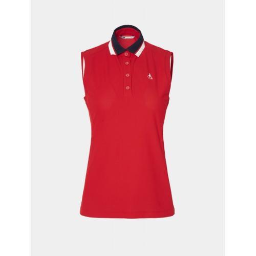 [빈폴골프] 여성 레드 니트 칼라 슬리브리스 티셔츠 (BJ0442A256)