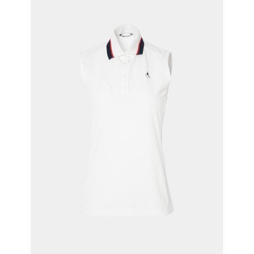 [빈폴골프] 여성 화이트 니트 칼라 슬리브리스 티셔츠 (BJ0442A251)