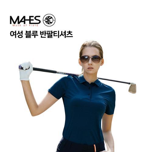 [마헤스] 여성 블루 반팔티셔츠 GS60289 골프패션