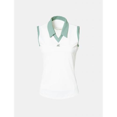 [빈폴골프] 여성 화이트 배색 브이넥 슬리브리스 티셔츠 (BJ9642A041)