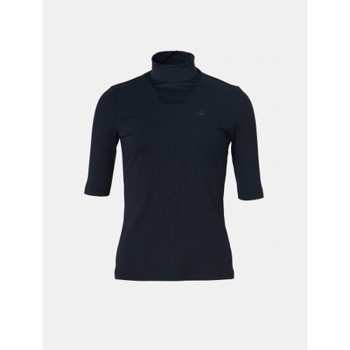 [빈폴골프] 여성 네이비 솔리드 골지 하이넥 티셔츠 (BJ9642A06R)