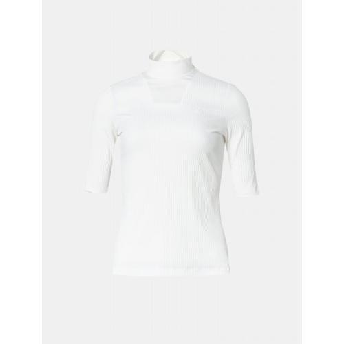 [빈폴골프] 여성 화이트 솔리드 골지 하이넥 티셔츠 (BJ9642A061)