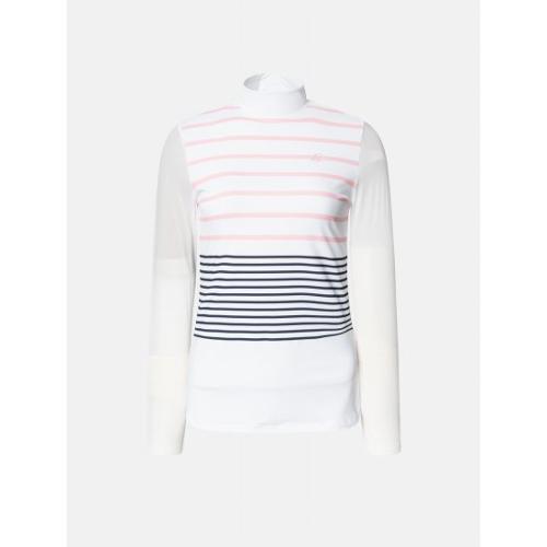 [빈폴골프] 여성 화이트 멀티 스트라이프 냉감 티셔츠 (BJ9641A011)