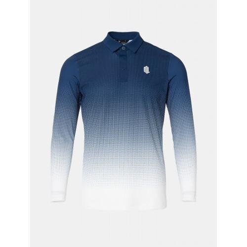 [빈폴골프] [NDL라인] 남성 블루 그라데이션 시어서커 칼라 티셔츠 (BJ0441M52P)