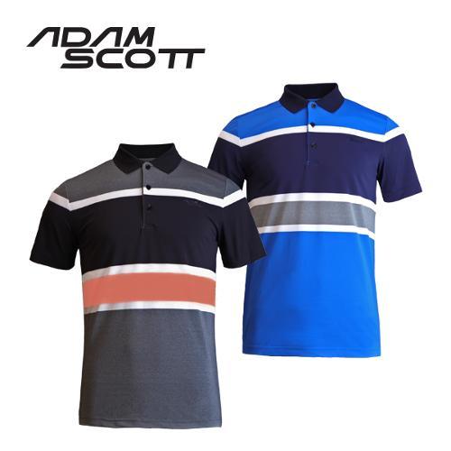 아담스콧 선염 스트라이프 패턴 골프 반팔티셔츠