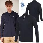 [USPA] 베이직 면스판 컬러 로고자수 남성 카라넥 긴팔티셔츠/골프웨어_250715