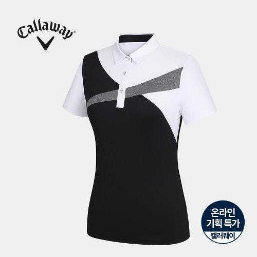 [캘러웨이]기획 여성 컬러 블럭 카라 반팔 티셔츠 CWTYJ6751-199_G