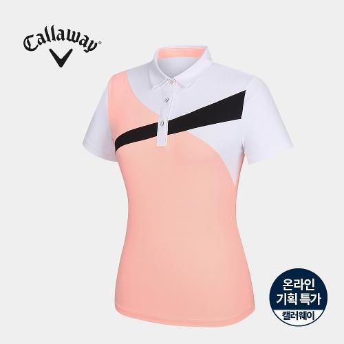 [캘러웨이]기획 여성 컬러 블럭 카라 반팔 티셔츠 CWTYJ6751-304_G