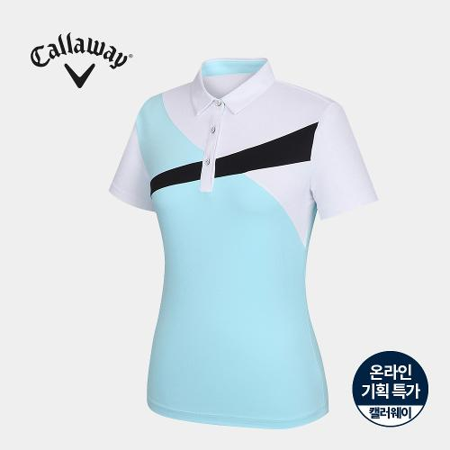 [캘러웨이]기획 여성 컬러 블럭 카라 반팔 티셔츠 CWTYJ6751-920_G