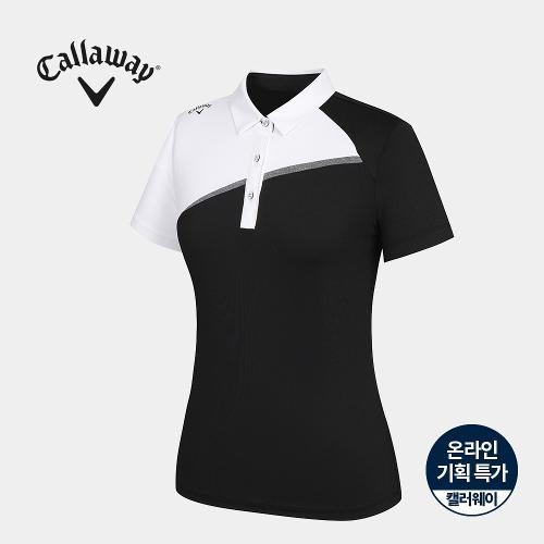 [캘러웨이]기획 여성 배색 카라 반팔 티셔츠 CWTYJ6753-199_G