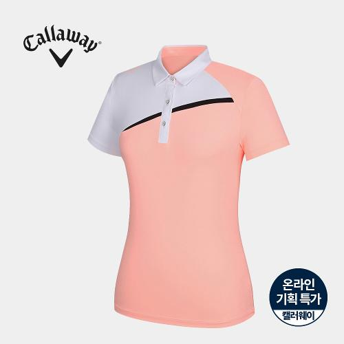 [캘러웨이]기획 여성 배색 카라 반팔 티셔츠 CWTYJ6753-304_G