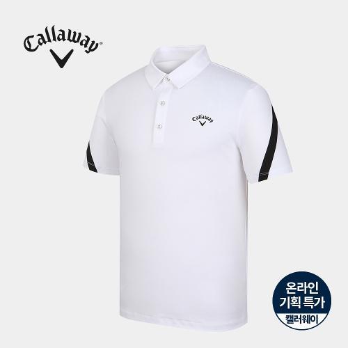 [캘러웨이]기획 남성 소매 배색 카라 반팔 티셔츠 CMTYJ2663-100_G