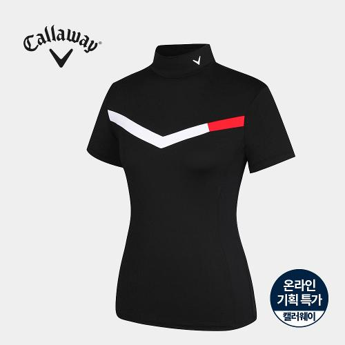 [캘러웨이]기획 여성 배색 하이넥 반팔 티셔츠 CWTHJ6663-199_G