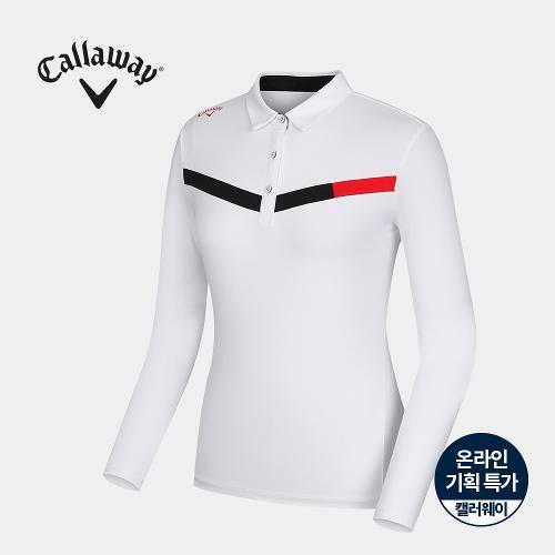 [캘러웨이]기획 여성 소매 냉감 배색 카라 티셔츠 CWTYJ6754-100_G