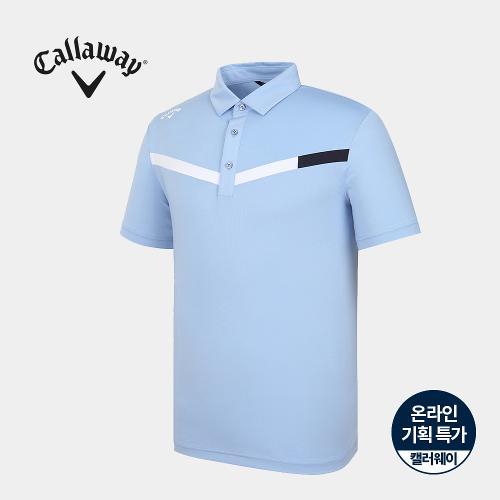 [캘러웨이]기획 남성 브이 배색 카라 반팔 티셔츠 CMTYJ2664-940_G